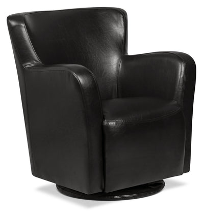 Zello Bonded Leather Swivel Accent Chair – Black|Fauteuil d'appoint pivotant Zello en cuir contrecollé - noir|ZEL3BKSC