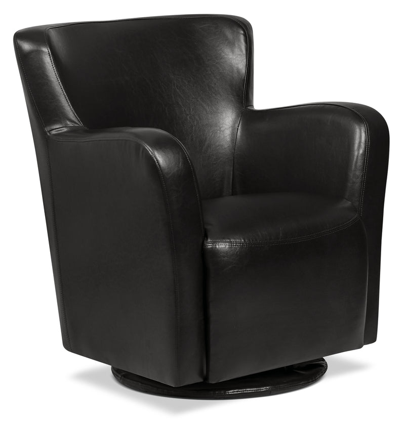 Zello Bonded Leather Swivel Accent Chair – Black - Contemporary style Accent Chair in Black
