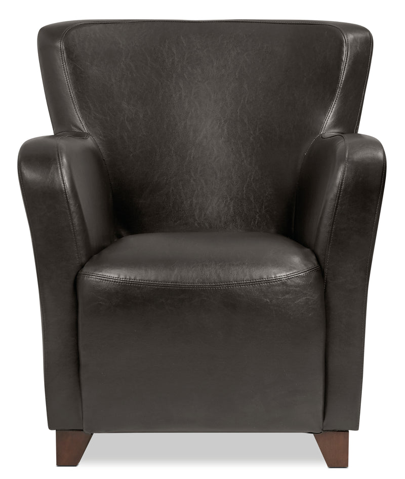 Zello Bonded Leather Accent Chair – Brown - Contemporary style Accent Chair in Brown