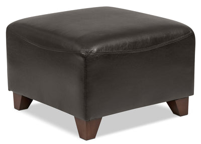 Zello Bonded Leather Ottoman – Brown - Contemporary style Ottoman in Brown