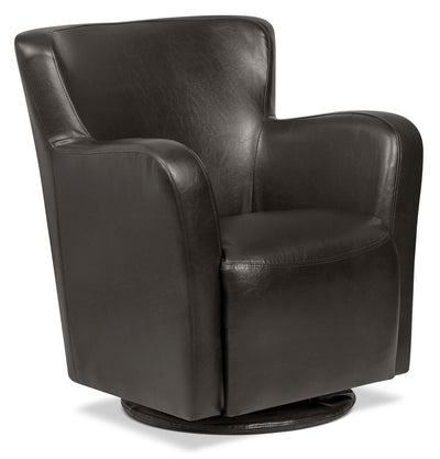 Zello Bonded Leather Swivel Accent Chair – Brown|Fauteuil d'appoint pivotant Zello en cuir contrecollé - brun|ZEL3BRSC