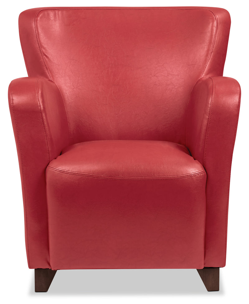 Zello Bonded Leather Accent Chair – Red - Contemporary style Accent Chair in Red