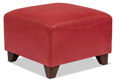 Zello Bonded Leather Ottoman – Red|Pouf Zello en cuir contrecollé - rouge|ZEL3RDOT
