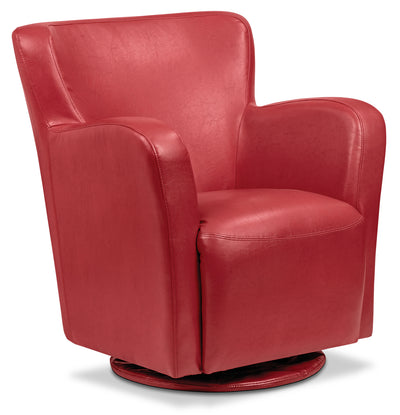 Zello Bonded Leather Swivel Accent Chair – Red - Contemporary style Accent Chair in Red