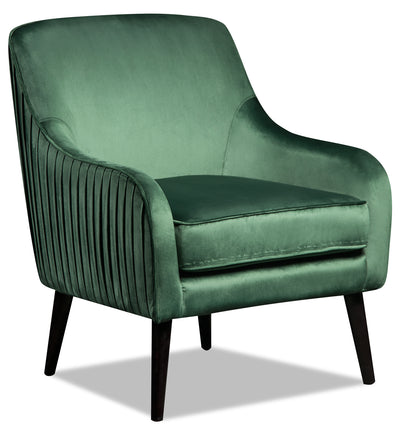 Zelda Velvet Accent Chair - Green - {Retro}, {Modern} style Accent Chair in Green {Plywood}, {Solid Woods}