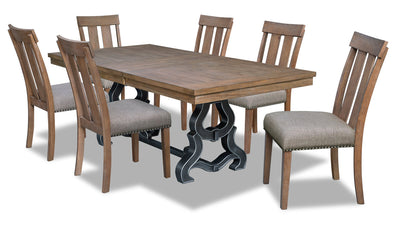 Zena 7-Piece Dining Room Package - {Contemporary} style Dining Room Set in Brown {Medium Density Fibreboard (MDF)}, {Acacia}