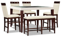 Zeno 6-Piece Counter-Height Dining Package with Wood Top Chair