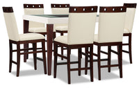 Zeno 7-Piece Counter-Height Dining Package with Wood Top Chair