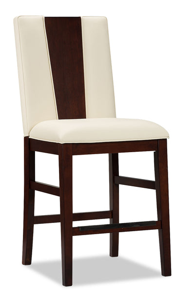 Zeno Counter-Height Dining Chair – Wood Back - Modern style Bar Stool in Cherry Poplar Solids and Cherry Veneers