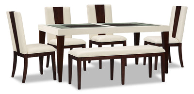Zeno 6-Piece Dining Package - Modern style Dining Room Set in Cherry Poplar Solids and Cherry Veneers/Faux Leather
