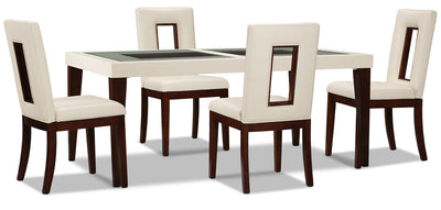 Zenoe 5-Piece Dining Package - Modern style Dining Room Set in Cherry/White Poplar and Faux Leather