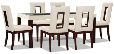 Zenoe 7-Piece Dining Package - Modern style Dining Room Set in Cherry/White Poplar and Faux Leather