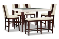 Zeno 6-Piece Counter-Height Dining Package with Wood Back Chair