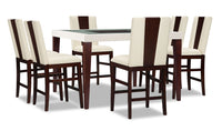 Zeno 7-Piece Counter-Height Dining Package with Wood Back Chair