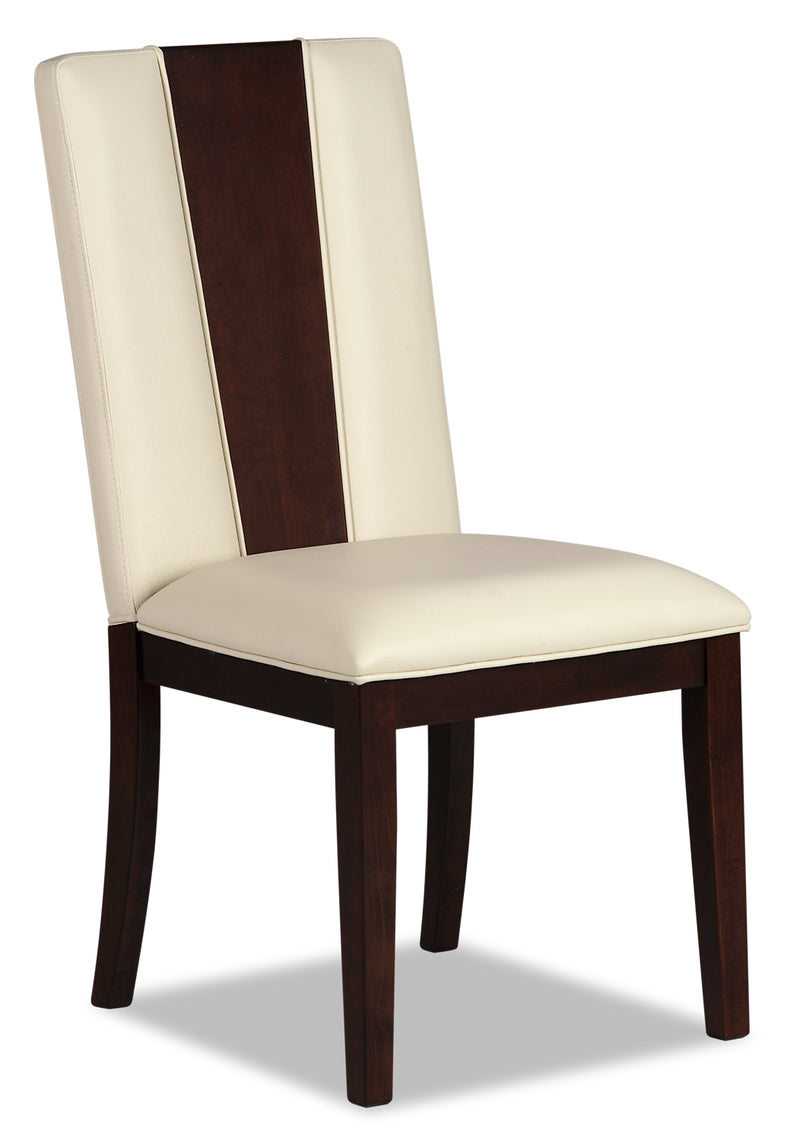 Zeno Side Chair - Glam style Dining Chair in Cherry/White