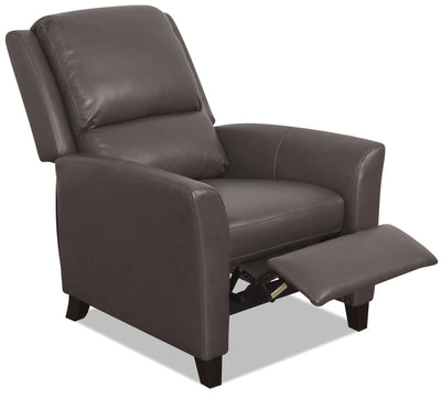 Zeo Bonded Leather Flared-Arm Reclining Chair - Brown|Fauteuil inclinable avec accoudoirs évasés Zeo en cuir contrecollé - brun|ZEO523RC