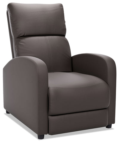 Zeo Bonded Leather Rounded-Arm Reclining Chair - Brown|Fauteuil inclinable avec accoudoirs arrondis Zeo en cuir contrecollé - brun|ZEO529RC