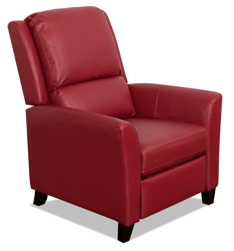 Zeo Bonded Leather Flared-Arm Reclining Chair - Red - {Contemporary} style Accent Chair in Red {Engineered Wood}, {Plywood}