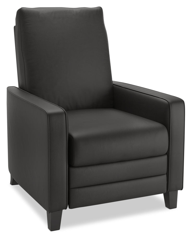 Zoe Bonded Leather Arm Push Accent Reclining Chair Black