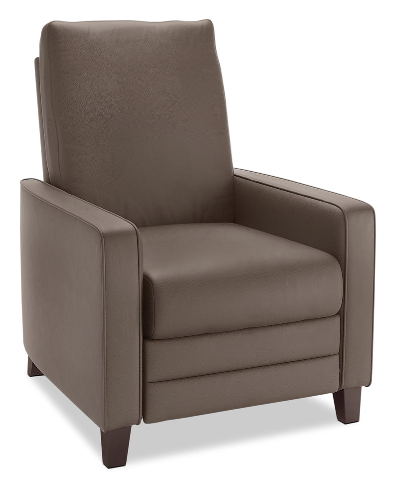 Zoe Bonded Leather Arm Push Accent Reclining Chair - Brown