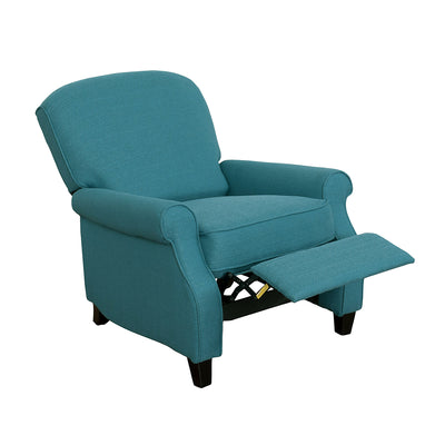 Zoe Linen-Look Fabric Accent Reclining Chair - Blue
