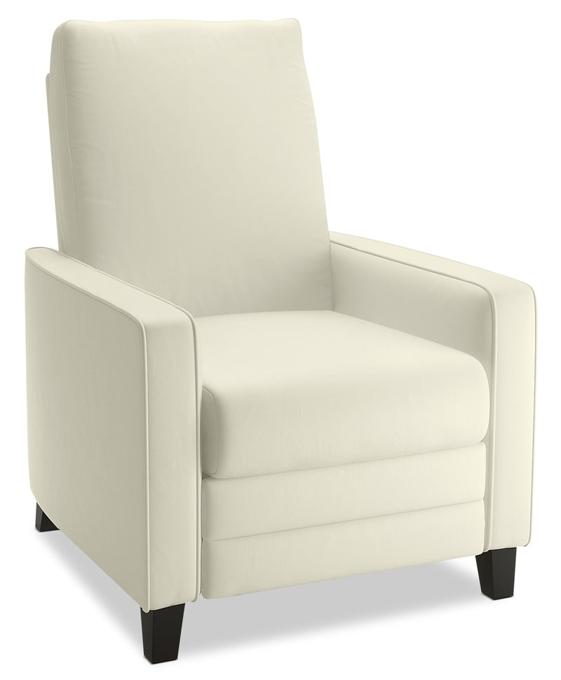 Zoe Bonded Leather Arm Push Accent Reclining Chair - Cream