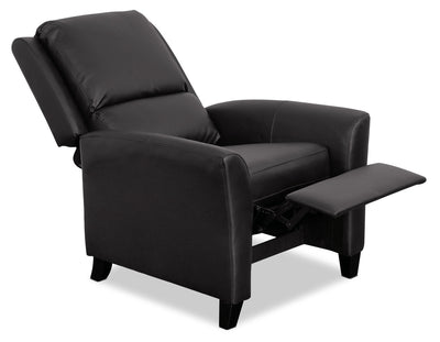 Zoe Bonded Leather Accent Reclining Chair with Flared Arms - Black|Fauteuil d'appoint inclinable Zoe en cuir contrecollé avec accoudoirs évasés - noir|ZOE503RC