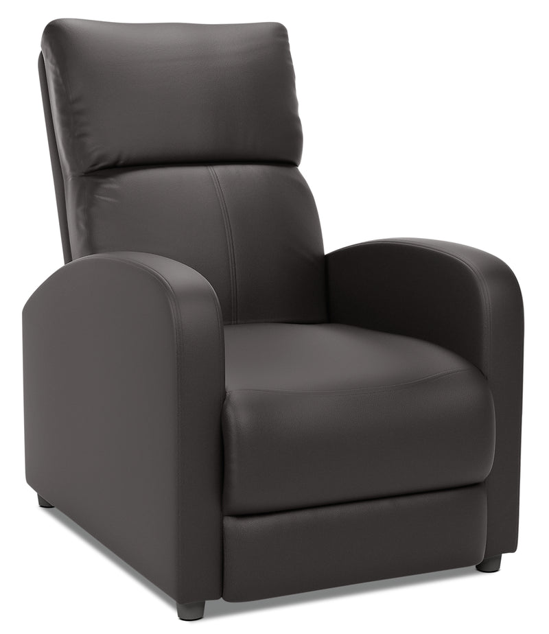 Zoe Bonded Leather Accent Reclining Chair with Rounded Arms - Black|Fauteuil d'appoint inclinable Zoe en cuir contrecollé avec accoudoirs arrondis - noir