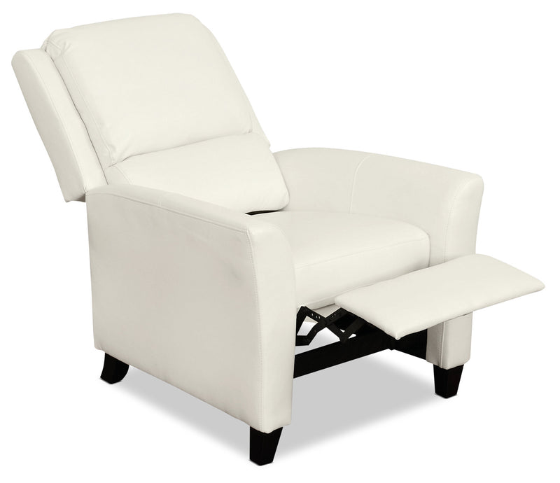 Zoe Bonded Leather Accent Reclining Chair with Flared Arms - White|Fauteuil d'appoint inclinable Zoe en cuir contrecollé avec accoudoirs évasés - blanc|ZOE513RC