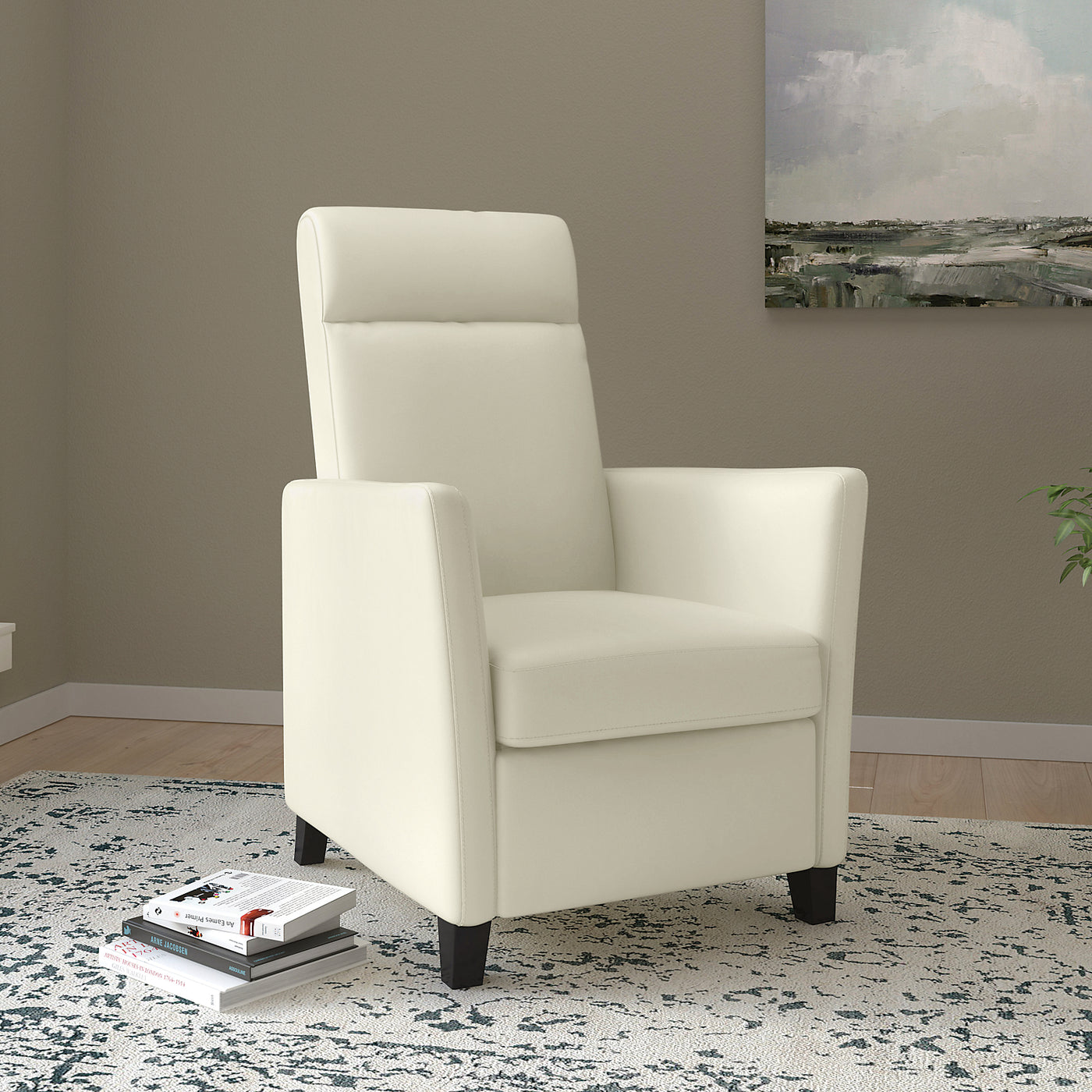 Modern Design Fauteuil.Zoe Bonded Leather Modern Accent Reclining Chair White