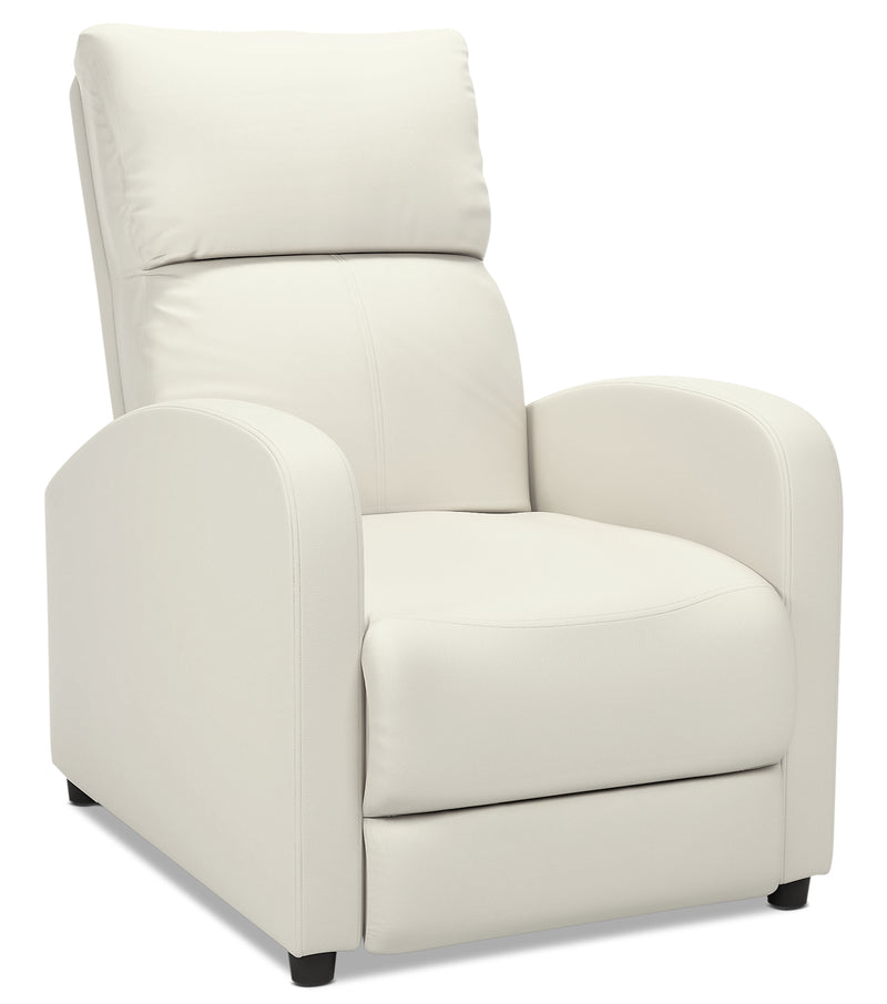 Zoe Bonded Leather Accent Reclining Chair with Rounded Arms - White