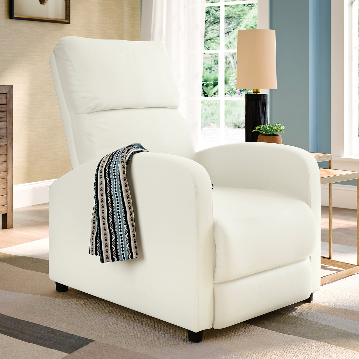 Zoe Bonded Leather Accent Reclining Chair With Rounded Arms White