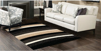 Shaggy Black, Beige and Grey Area Rug – 5' x 8'