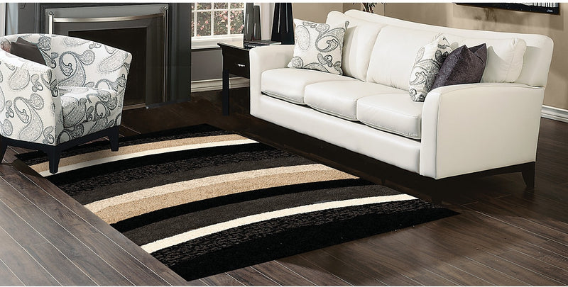 Shaggy Black, Beige and Grey Area Rug – 5' x 8'|Carpette à poil long noire, beige et grise - 5 pi x 8 pi