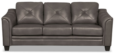 Andi Leather-Look Fabric Sofa – Grey - Glam style Sofa in Grey