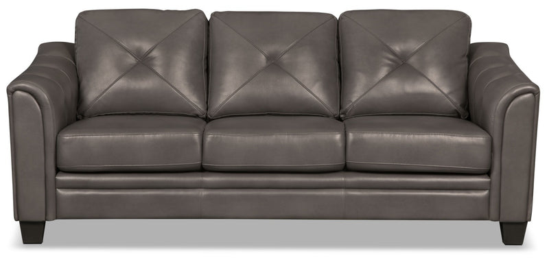 Andi Leather-Look Fabric Sofa – Grey|Sofa Andi en tissu d'apparence cuir - gris