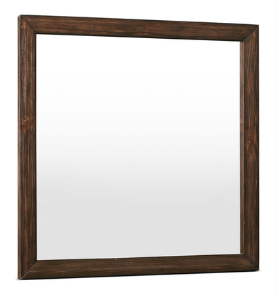 Tacoma Mirror - Rustic style Mirror in Dark Brown Pine Solids and Veneers