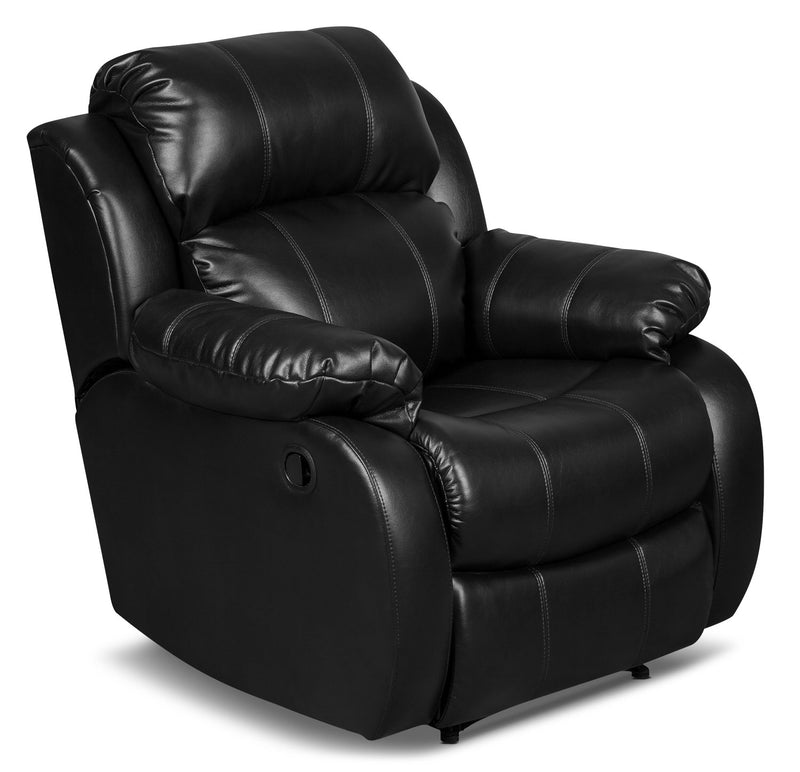 Omega 3 Leather-Look Fabric Reclining Chair – Black|Fauteuil inclinable Omega 3 en tissu d'apparence cuir – noir