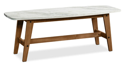 Nessa Coffee Table - Glam style Coffee Table in White Hardwood Solids and Faux Marble