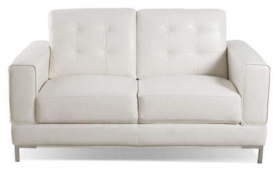 Myer Leather-Look Fabric Loveseat - Cream - Modern style Loveseat in Cream