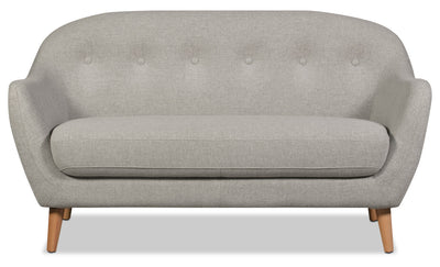 Calla Linen-Look Fabric Loveseat – Light Grey - Modern style Loveseat in Light Grey