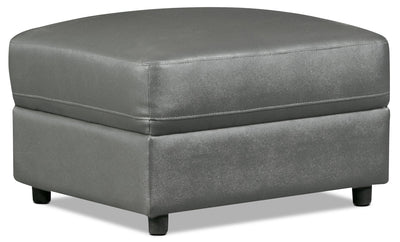Romeo Genuine Leather Ottoman – Grey - Modern style Ottoman in Grey