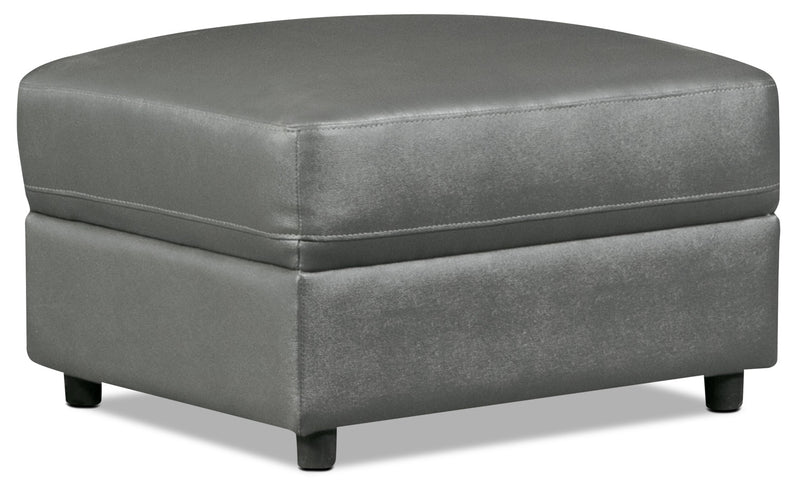 Romeo Genuine Leather Ottoman – Grey|Pouf Romeo en cuir véritable – gris
