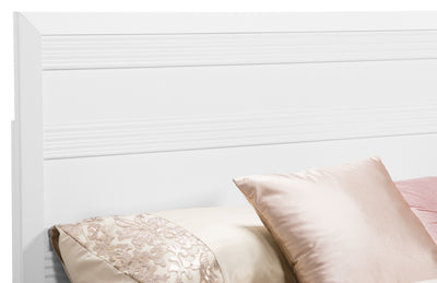 Olivia Queen Panel Headboard - White - Modern style Headboard in White Engineered Wood and Laminate Veneers