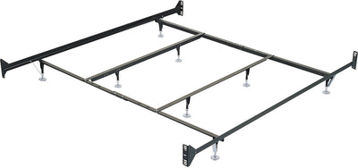 King Metal Glide Bedframe w/ Headboard/Footboard Attachment - Black Bed Frame
