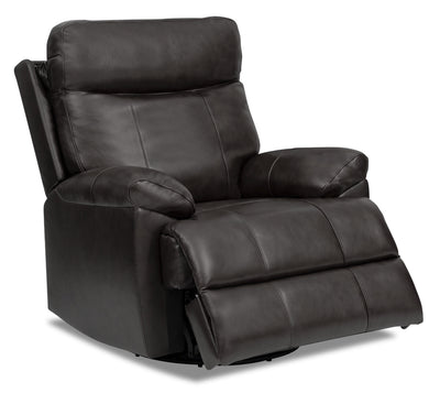 Alexis Genuine Leather Power Swivel Recliner with Power Lumbar and Headrest - Steel Grey