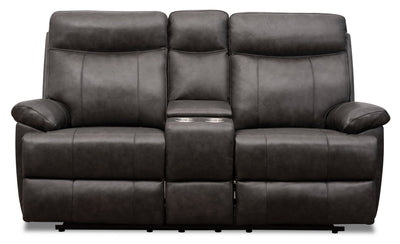 Alexis Genuine Leather Power Reclining Loveseat with Power Lumbar and Headrest - Steel Grey