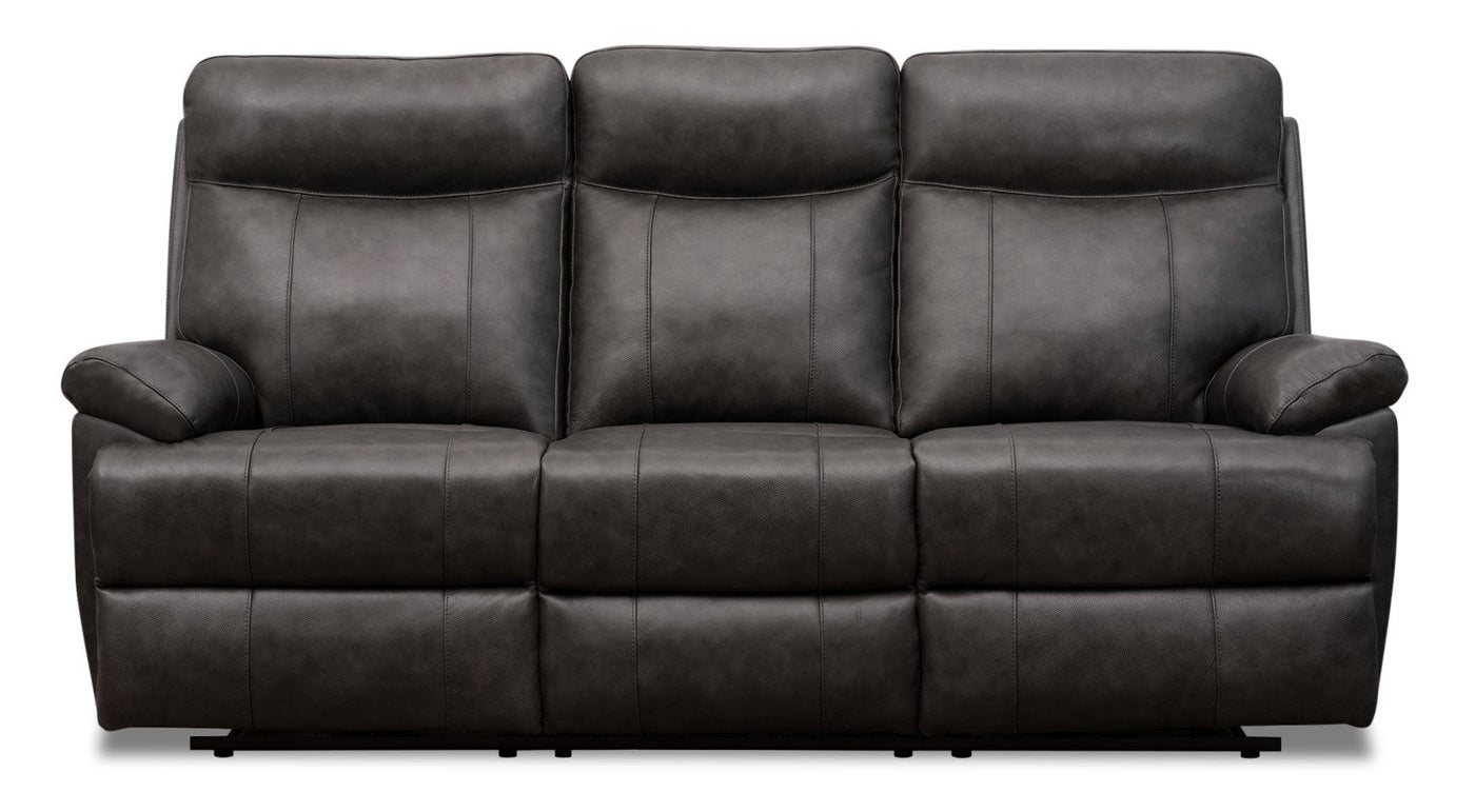 - Alexis Genuine Leather Power Reclining Sofa With Power Lumbar And