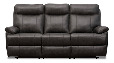 Alexis Genuine Leather Power Reclining Sofa with Power Lumbar and Headrest - Steel Grey