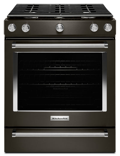 KitchenAid 5.8 Cu. Ft. 5-Burner Gas Convection Range – KSGG700EBS - Gas Range in Black Stainless Steel